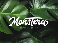 Monstera Custom Lettering Logo