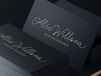 Alia Signature Logo inked pen calligraphy lettering personal brand branding identity logo handwriting signature