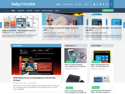 Gadget Helpline website design - for RocketMill website blog design blog design news website