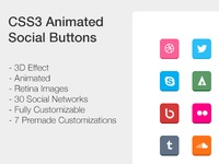 CSS3 Animated Social Buttons