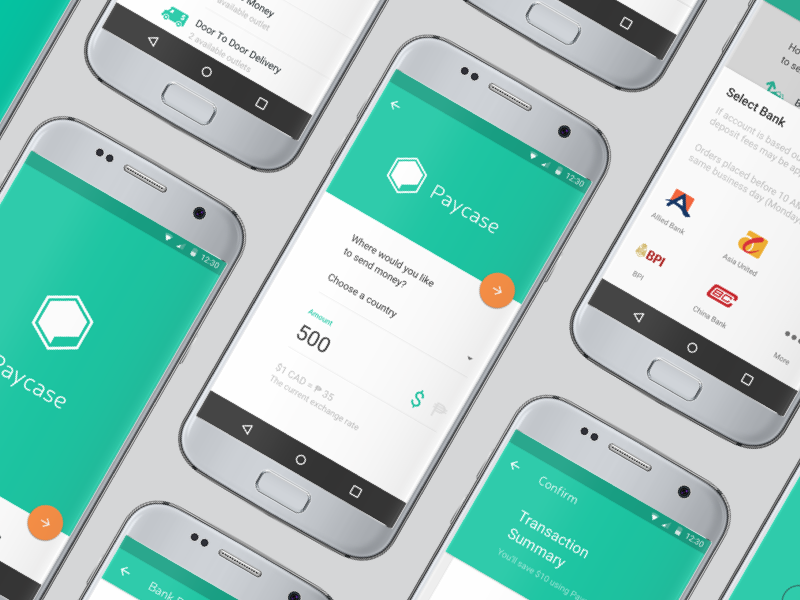 Paycase design clean web mobile app flat white ui