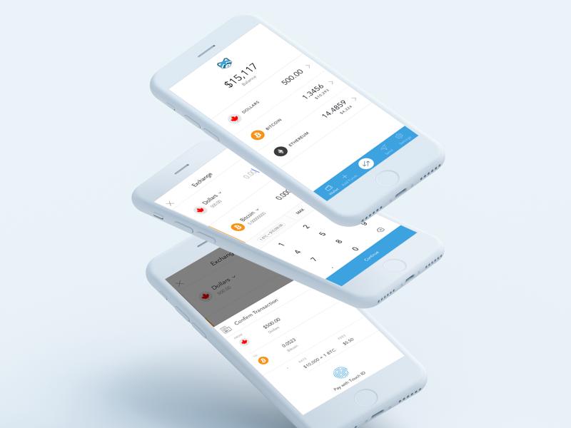 Shakepay Exchange design clean mobile ios app flat white iphone ui