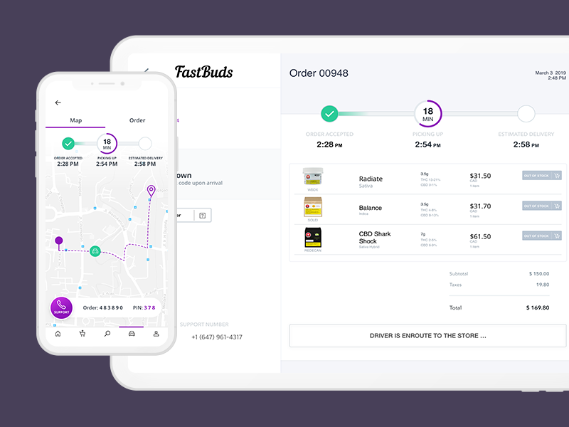 FastBuds Dispensary Delivery delivery dispensary cannabis logo ux analytics ipad ios design web mobile clean app iphone flat white ui