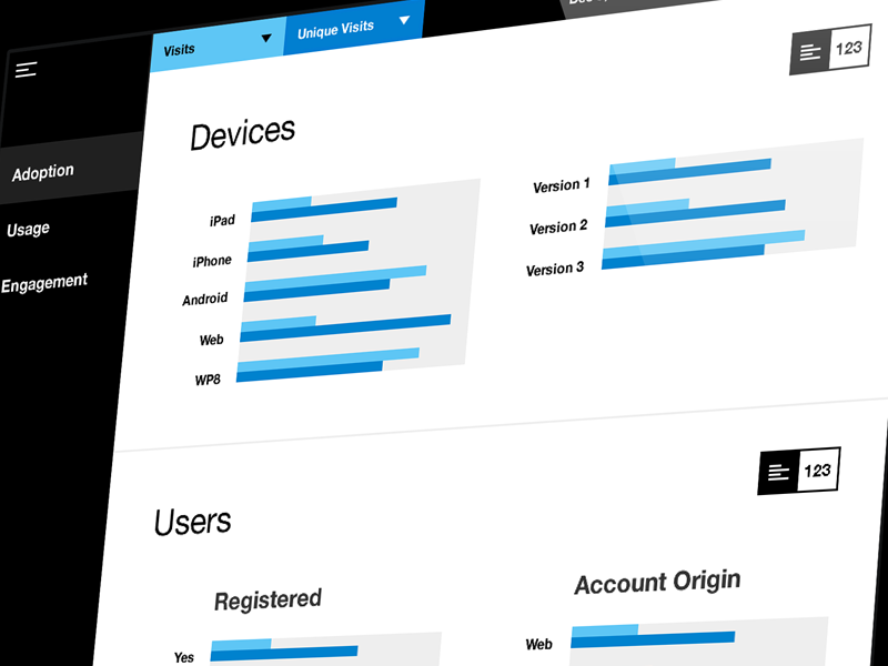System Analytics Dashboard system analytics dashboard ui user interface blue white black ipad web responsive