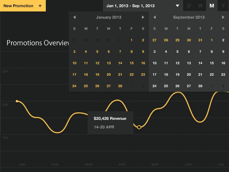 Date Range Selector date range picker selector analytics flat dark ui web app