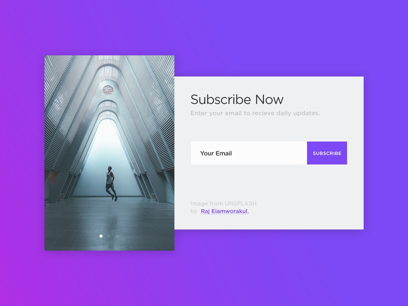 Daily UI Subscribe Now ui  ux design web design modal window gradient photography images unsplash newsletter ux ui