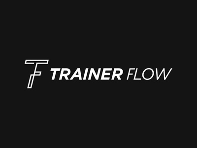 Trainer Flow product branding design monogram fitness gym app startup branding logo