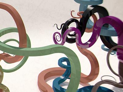 Kreate swirls curves colours 3d c4d kurulumun