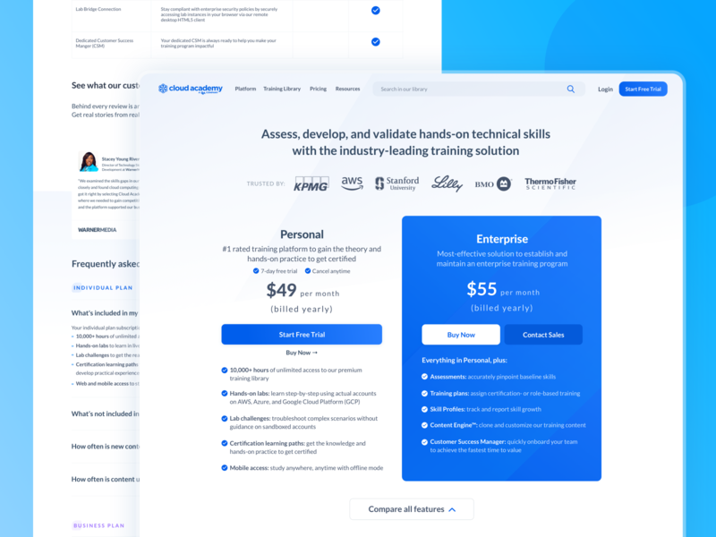 Pricing Page - Cloud Academy elearning learning app learning platform learning training cloud cloud academy website concept website design website ux ui prices price list price pricing plans pricing table pricing plan pricing page pricing