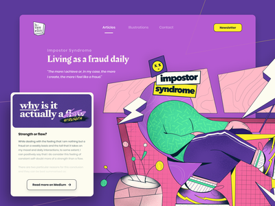 Impostor Syndrome - Article Cover desk remote working character medium article medium flat web homepage typography ux ui illustrator illustration cover art cover design cover article syndrome impostor