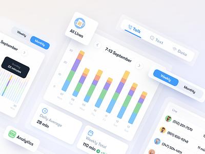 Usage Analytics app mobile app dashboad mobile usmobile ux ui weekly monthly chart design bar charts 3d bar chart chart analytics dashboard analytics chart consumption usage analytics analytic