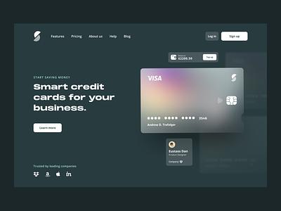 Smart Credit Cards - Concept 💳 homepage home gradient illustration typography app design ux ui banking app bank app banking bank card design cards ui card credit cards creditcard credit card credit