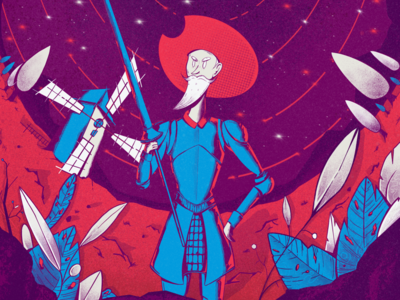 Don Quijote Trippin' ui stars field spear trees sky old man knight man character design character donquijote quijote nature leaves windmill night illustration art illustrator illustration