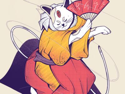 Dancing Neko ukiyo-e manga animal character animal illustration animal tail procreate ui japanese art cartoon character design character kimono japan japanese dancing neko cat illustrator illustration
