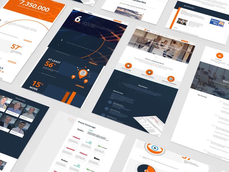 Opus website, UI design opus circles clean bold orange navy branding ui design ui web design website