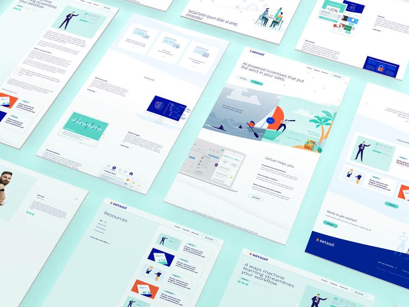 SetSail website, UI design uptrending sail set sail ui ux strategy incentives ai white purple teal bright minimal clean light illustration branding website
