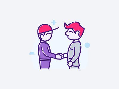 Redbox Partner flat business deal redbox business handshake cargo package delivery partnership illustrator illustration vector