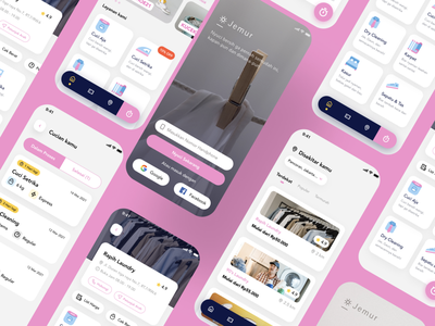 Jemur wash outfit jemur laundry app laundry service laundry android user experience mobile app design user interface ios ux ui illustration product design