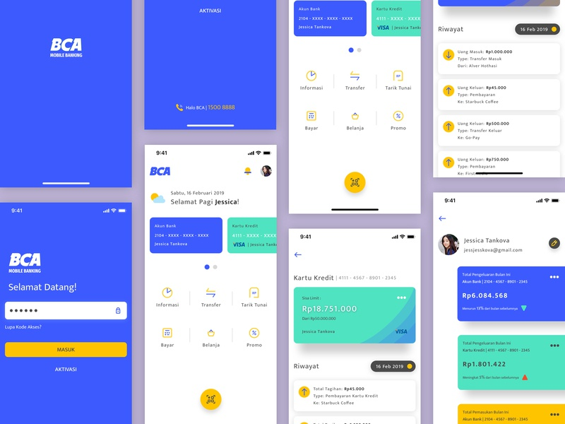 BCA Mobile Banking - Redesign (Concept) banking banking app mobile banking iconography mobile app design illustration ios ux ui product design