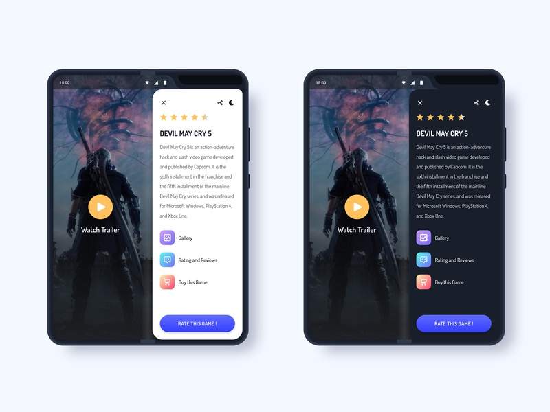 Foldable Phone Game Review App game rating review mobile app design gradient user interface material galaxy fold product design app  design