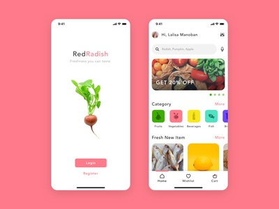 Red Radish - Groceries Shopping App chat cook food chef recipes user experience user interface mobile app shopping groceries ios app