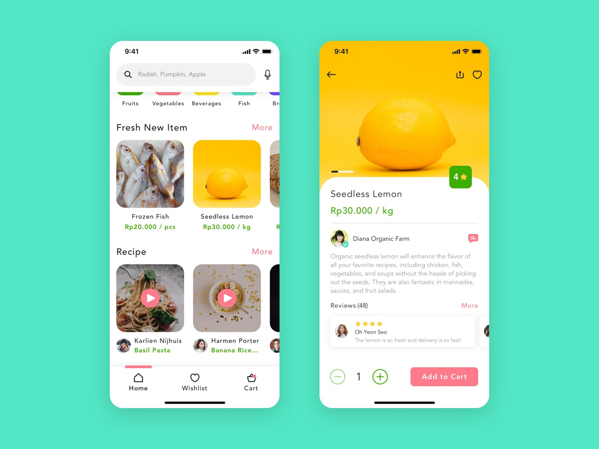 Red Radish - Groceries Shopping App product details cooking food ux ui ios product design shopping recipes grocery app grocery groceries