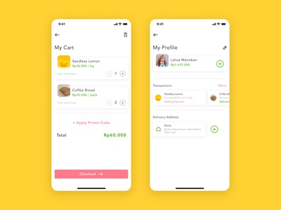 Red Radish - Groceries Shopping App profile cart cooking food ux ui ios product design shopping recipes grocery app grocery groceries