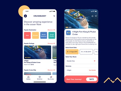 Cruise Buddy product detail journey tour travel app booking app ticketing ticket booking cruise ship ship cruise ios mobile app design ux ui product design