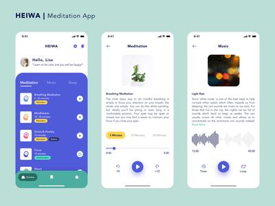 Heiwa - Meditation App rain peace mind relaxation meditation mobile app design user interface ux ios ui product design