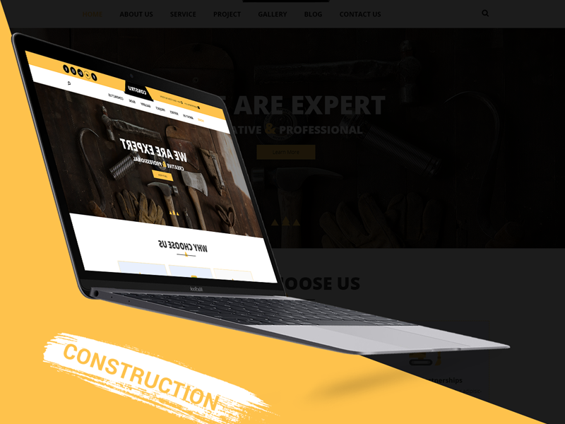 Constru - Construction PSD Template Design ux ui psd builder design