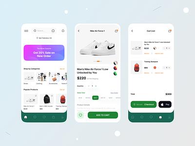 Ecommerce App Design trand tranding esite ecomrce design mobile lightdesign clean ux ui branding graphic design