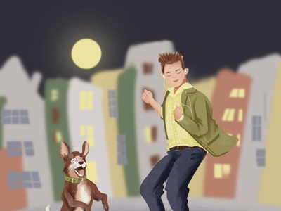 Boy and dog dancing in the moonlight night music boy dog dancing moon dance design illustration character