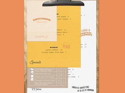 Sweetsong Menu Concept beer menu clipboard gwinnett song sheet music music georgia peach georgia peach atlanta