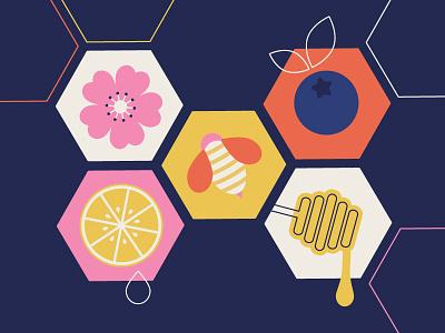 Lil Bee Honey Co. Pattern lemon cherry blossom flower blueberry pattern illustration bee honey