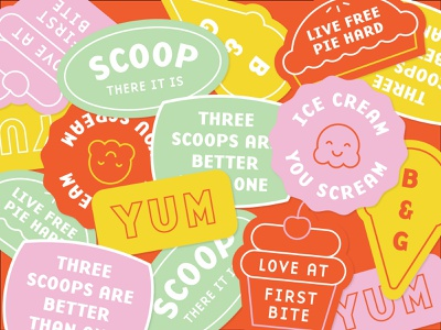 Ice Cream and Pastry Shop Stickers dessert cupcake cake pie sticker ice cream