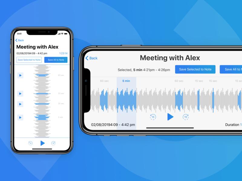 Audio Recording Interface audio player equaliser notes audio interaction design user experience user interface ios note app audio recording audio app srm routine srm