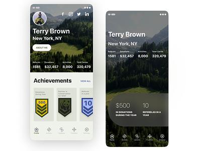 wip, App concept environment achievements save nature enviroment concept application design ios mobile app