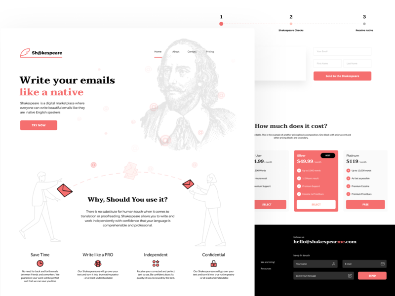 Shakespeare, Lnding email app visual  identity startup logo startup landing page landing page shakespeare