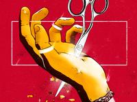 Sade burning graphic design self-destruction destroy god light hand scissors golden