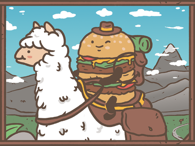 Kevin & Tobey horseman charachters fun to go travel mountain lama adventures burgers