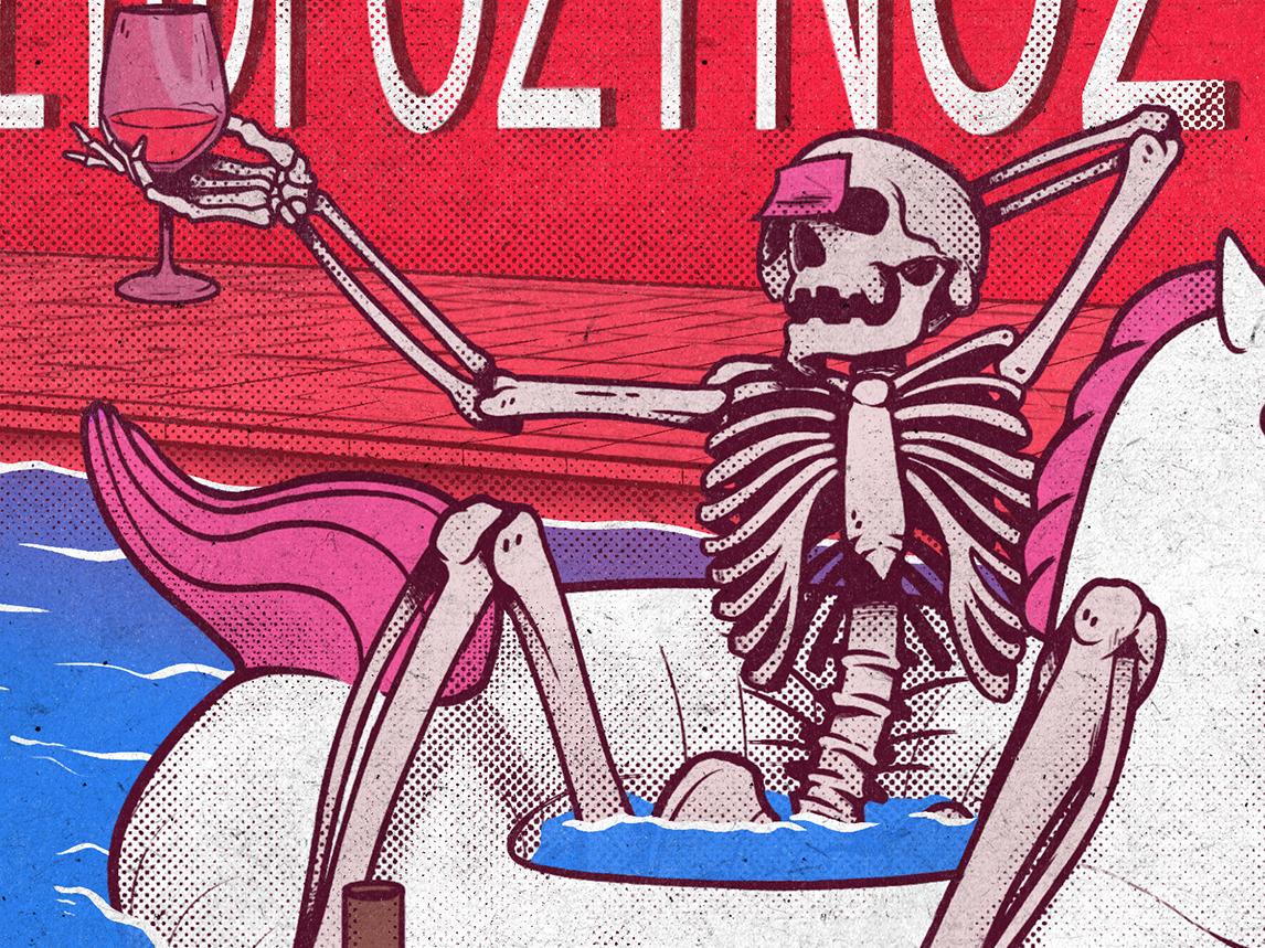Jack Again summer sticker remake cover drunk horse unicorn skull skeleton poolside wine pool party pool