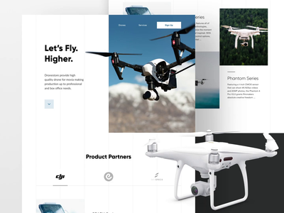 Dronestore website landing page product website product photography principle animation motion layout design dji drone ux ui website web design