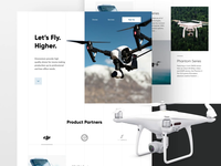 Dronestore website landing page product website product photography principle animation motion layout design dji drone ux ui website web design