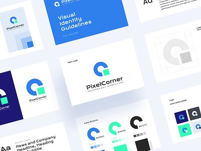 Pixel Corner - Brand Identity Guidelines product design print typography technology logo brand identity brand branding