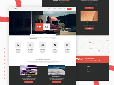 Shipping Company Landing Page shipping management container map destination grid layout flat design app ux ui landing page website company stuff shipping