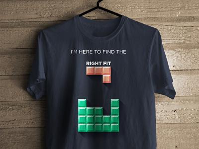 Right Fit - T-shirt design for Interviewstreet Recruiters tshirt concept tetris dark interviewstreet swag