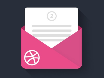 2 Invites for a grab. invites dribbble invite draft two mail long shadow