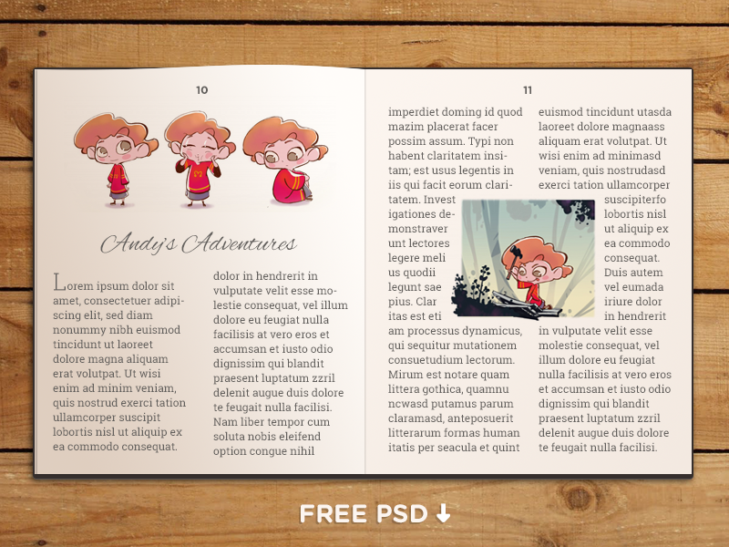 FREE PSD - Book template book illustration psd free free psd download comic story book