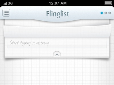 Fling Up to Add new - UI/UX concept of a secretive IOS app ios iphone app page curl paper grid text text area type mobile