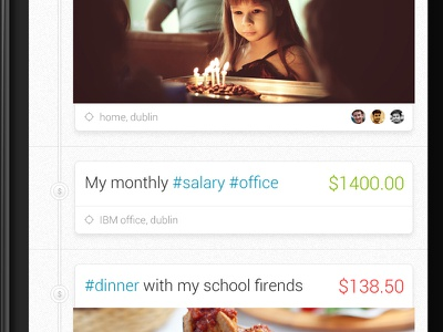 Trackash - Timeline trackash timeline expense android ios hashtags expense application
